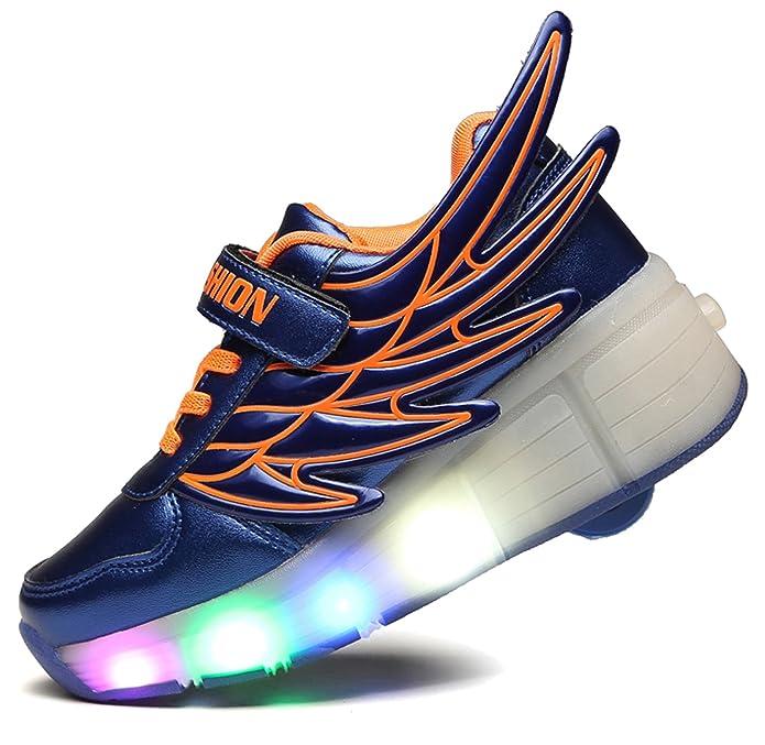 Mädchen Jungen Skateboard Schuhe Flügel-Art Rollen Verstellbare Schlittschuhe Neutral Rollschuh Schuhe Sneaker LED Leuchtet Sohle Leuchtend Sport Turnschuhe V9tOlE