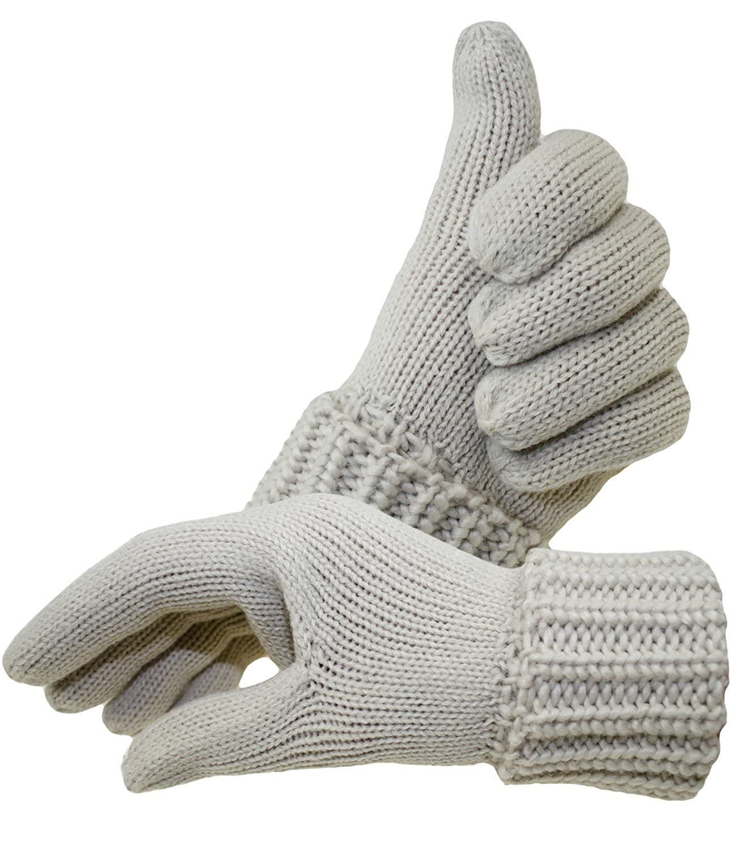 EveryHead Fiebig Damenhandschuhe Handschuhe Strickhandschuhe Fingerhandschuhe Winterhandschuhe Wollhandschuhe einfarbig für Frauen (FI-58044-W16-DA1) inkl Hutfibel