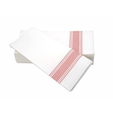 """Simulinen Dinner Napkins –RED Stripe Bistro– Decorative Cloth Like & Disposable Bistro Napkins – Soft, Absorbent & Durable (19""""x17"""" – Box of 60)"""