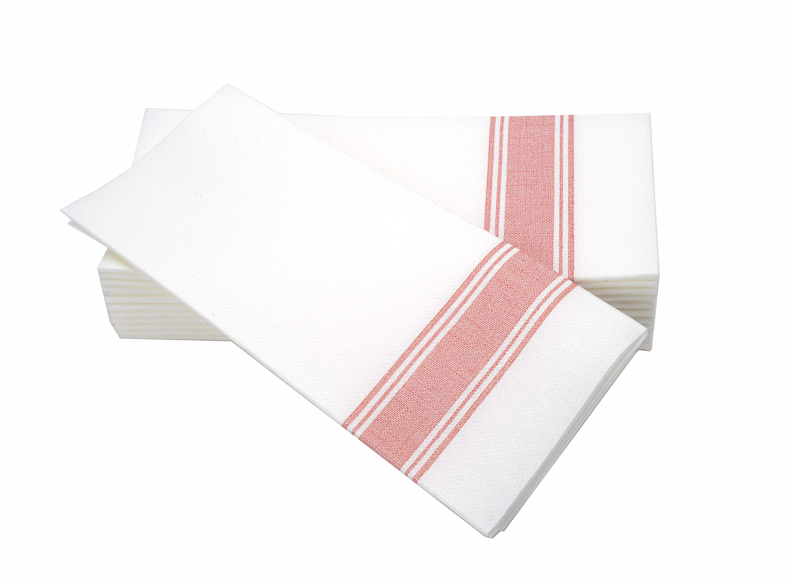 "Simulinen Dinner Napkins –RED STRIPE BISTRO– Decorative Cloth Like & Disposable Bistro Napkins – Soft, Absorbent & Durable (19""x17"" – Box 60)"