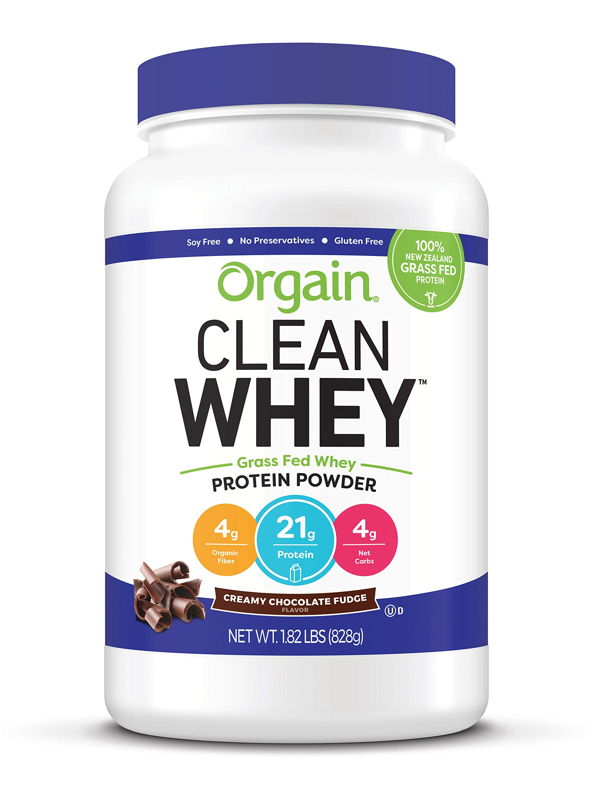 Orgain Grass Fed Clean Whey Protein Powder, Creamy Chocolate Fudge - Low Net Carbs, Gluten Free, Soy Free, No Sugar Added, Kosher, Non-GMO, 1.82 Pound by Orgain
