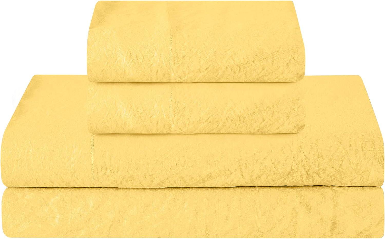 Prewashed Crinkle Sheet Set - Extra Soft Linen Style Microfiber Bed Sheets - Lightweight and Breathable Bed Sheets for All Season Comfort - Deep pocket, Reinforced Elastic Corner Straps