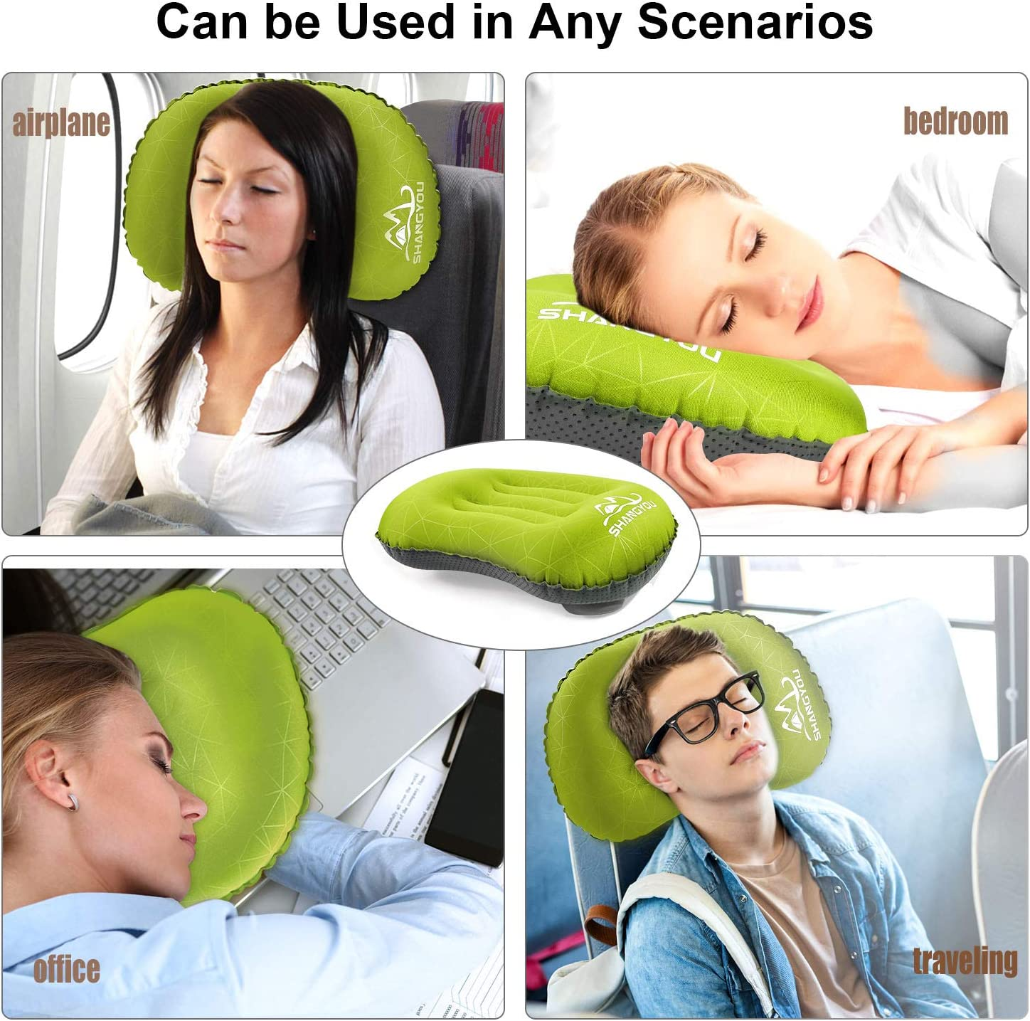 Ergonomic Neck and Lumbar Support Perfect for Hiking,Travel,Sleeping Ultralight Inflatable Camping Pillows Compressible Travel Backpacking Air Pillow Fast Inflatable by Pressing