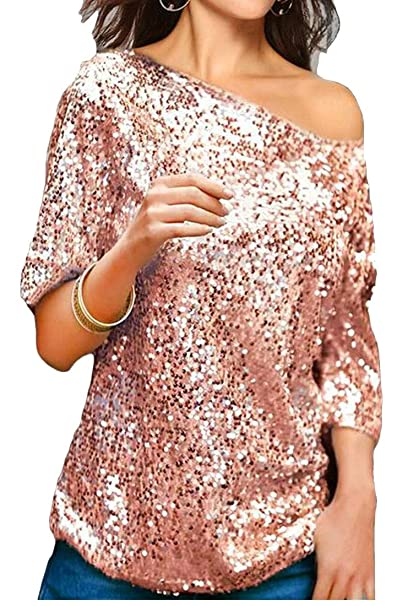 14642c21b38 Jofemuho Women's Short Sleeve One-Shoulder Solid Color Glitter Sequins  Loose Fit Top T-Shirt Blouse at Amazon Women's Clothing store: