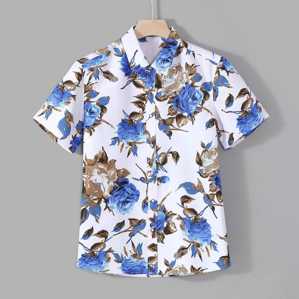 SKYLULU✿Fashion Mens Color Lump Chest Pocket Short Sleeve Round Hem Loose Shirts Blouse Retro Shirt Tops