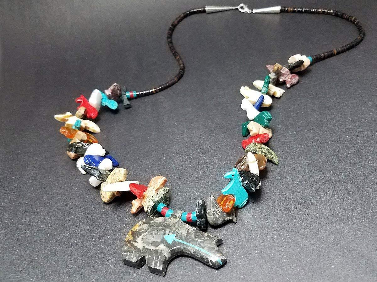 Animal Stone Necklace w Bear Pendent Stone