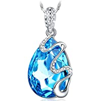 Kami Idea Necklace Women Dream Island Water Drop Pendant Blue Swarovski Crystals, Elegant Jewellery Box Every Special Moment