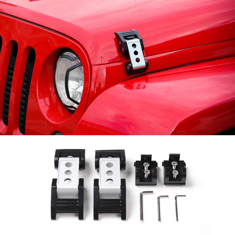 Jecar Jeep Wrangler Hood Catch Kit For 2007 2017 Jk Release Jku Stainless Steel Latch