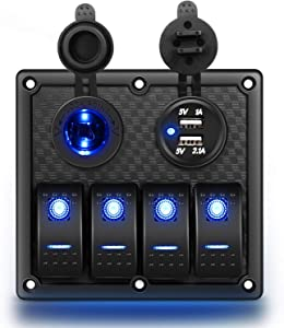 Nilight 4 Gang Rocker Switch Panel Waterproof Pre-wired Switch Panel with USB Charger & Power Socket and Fuse DC 12V 24V Rocker Switch Panel for Car Rv Vehicles Trucks,2 Years Warranty