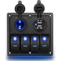 Nilight 4 Gang Rocker Switch Panel Waterproof Pre-wired Switch Panel with USB Charger & Power Socket and Fuse DC 12V 24V…