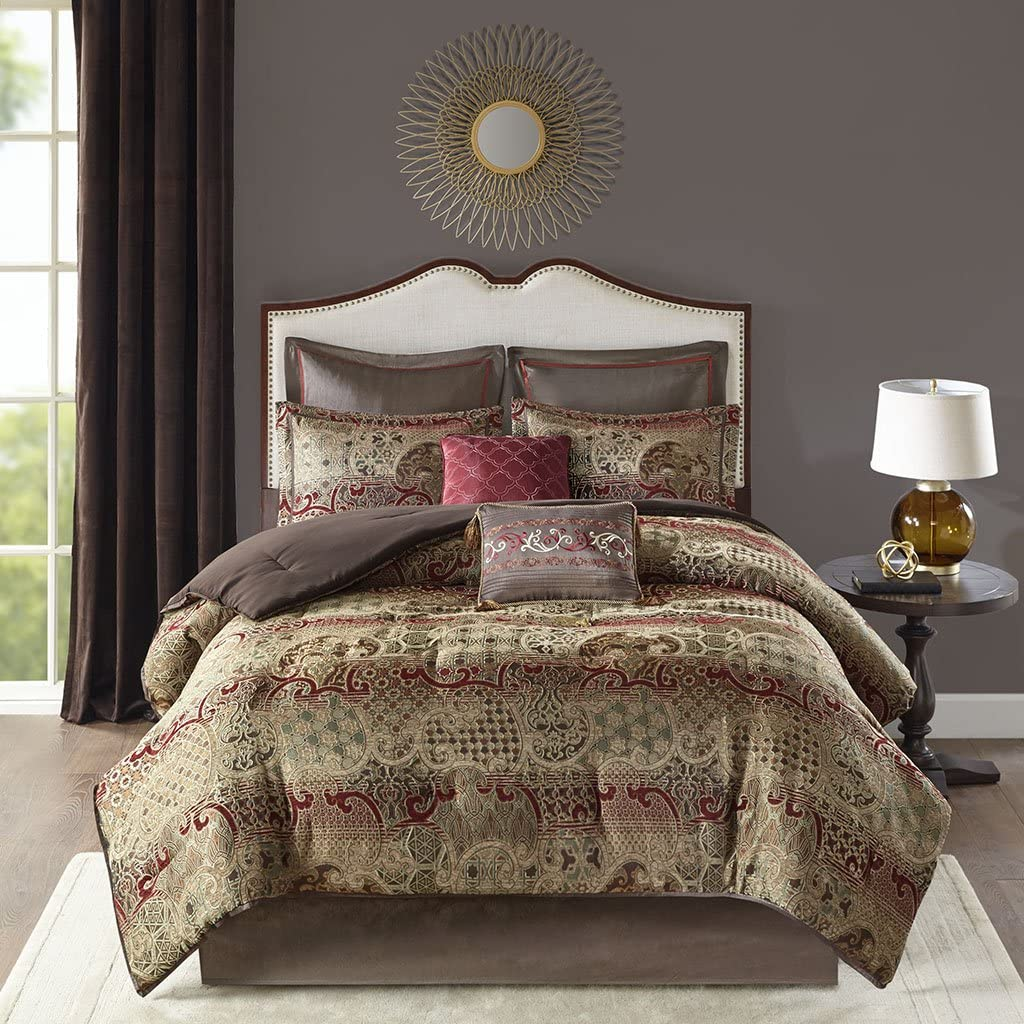 Madison Park Hickory 8 Piece Chenille Jacquard Comforter Set Bedding, Queen Size, Red