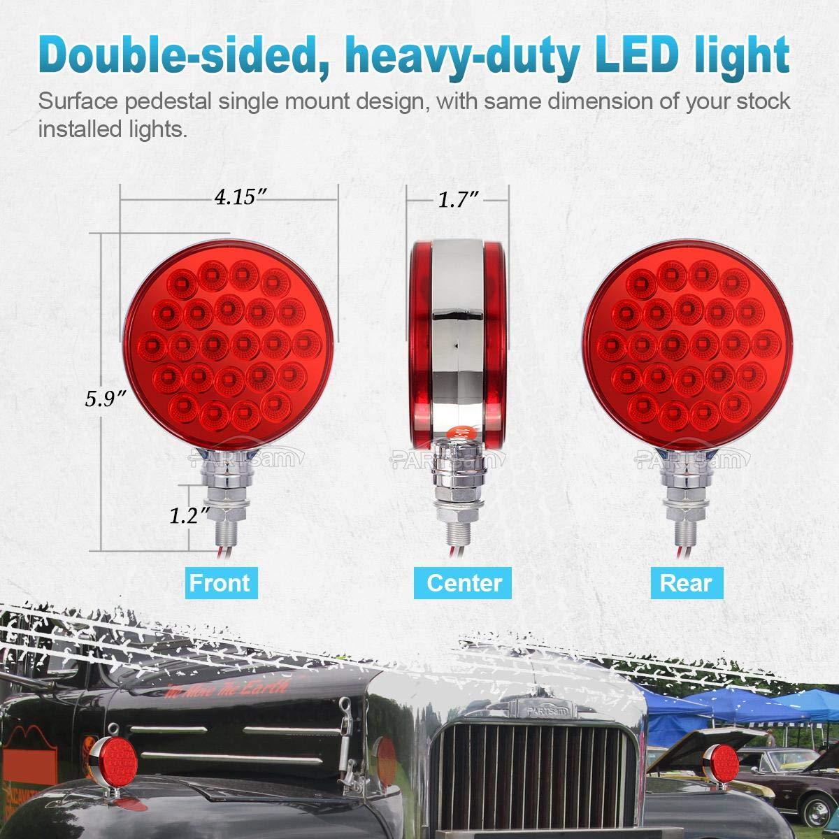 4 Round Single Stud Mount Dual Face Red//Amber Led Trailer Truck Lights for Peterbilt//Kenworth//Freightliner Trucks Pack of 4 Partsam Pedestal Fender Light 48 LED
