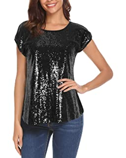 Women Sequin Tops Glitter Shimmer Tunic Loose Bat Sleeve Sparkle T-Shirt  Blouses Cocktail Party 831a8c48ea07
