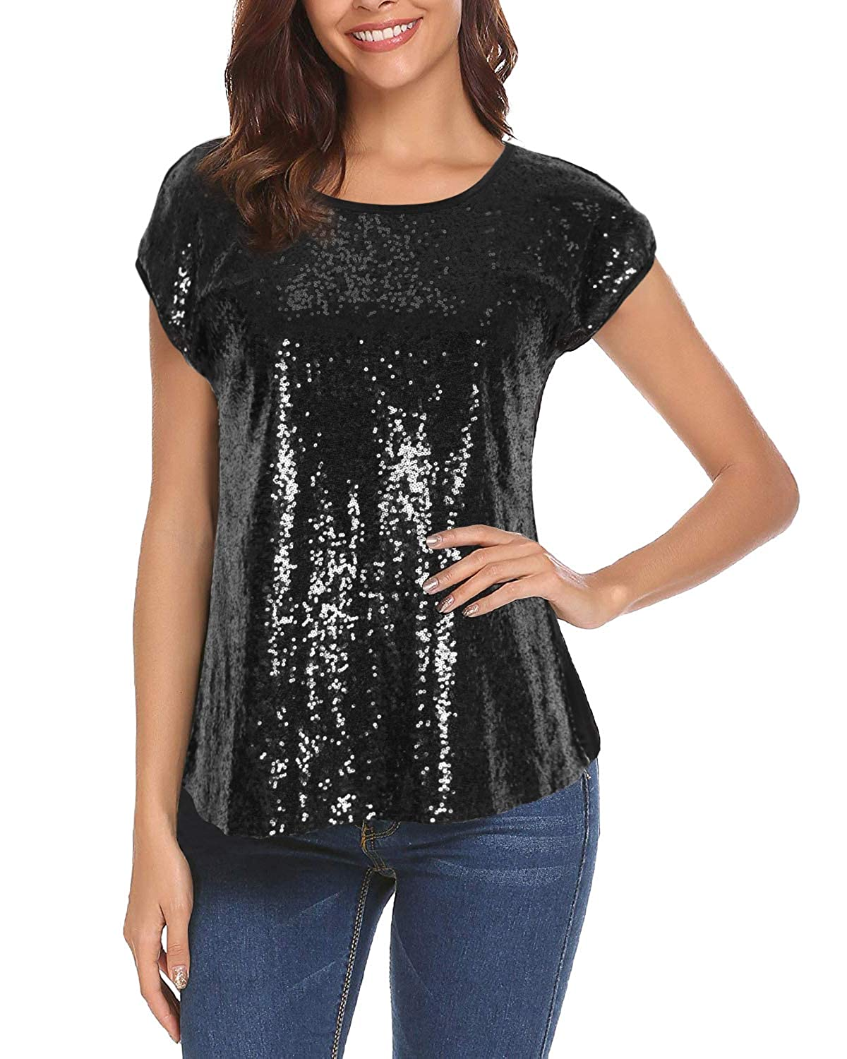 6e6b24b58d3876 Women Sequin Tops Glitter Shimmer Tunic Loose Bat Sleeve Sparkle T-Shirt  Blouses Cocktail Party at Amazon Women's Clothing store: