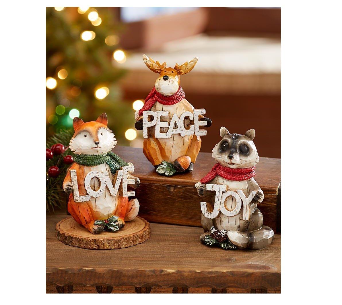 3 Piece Set Holiday Wintery Woodland Animal Figurine Sentiment PEACE LOVE JOY Home Decor