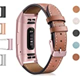 Hotodeal Leather Band Compatible Charge 3, Classic Replacement Genuine Leather Bands Metal Connectors Women Men Small…