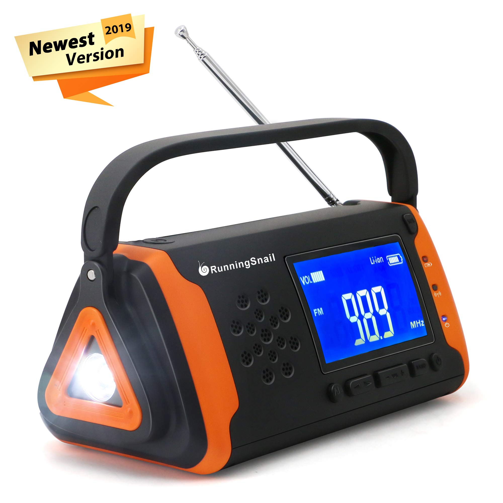 Emergency NOAA Weather Crank Solar Powered Portable Radio with 2000mAh Battery Power for Cell Phone, Bright Flashlight for Household Emergency and Outdoor Survival (097-Orange) by RunningSnail
