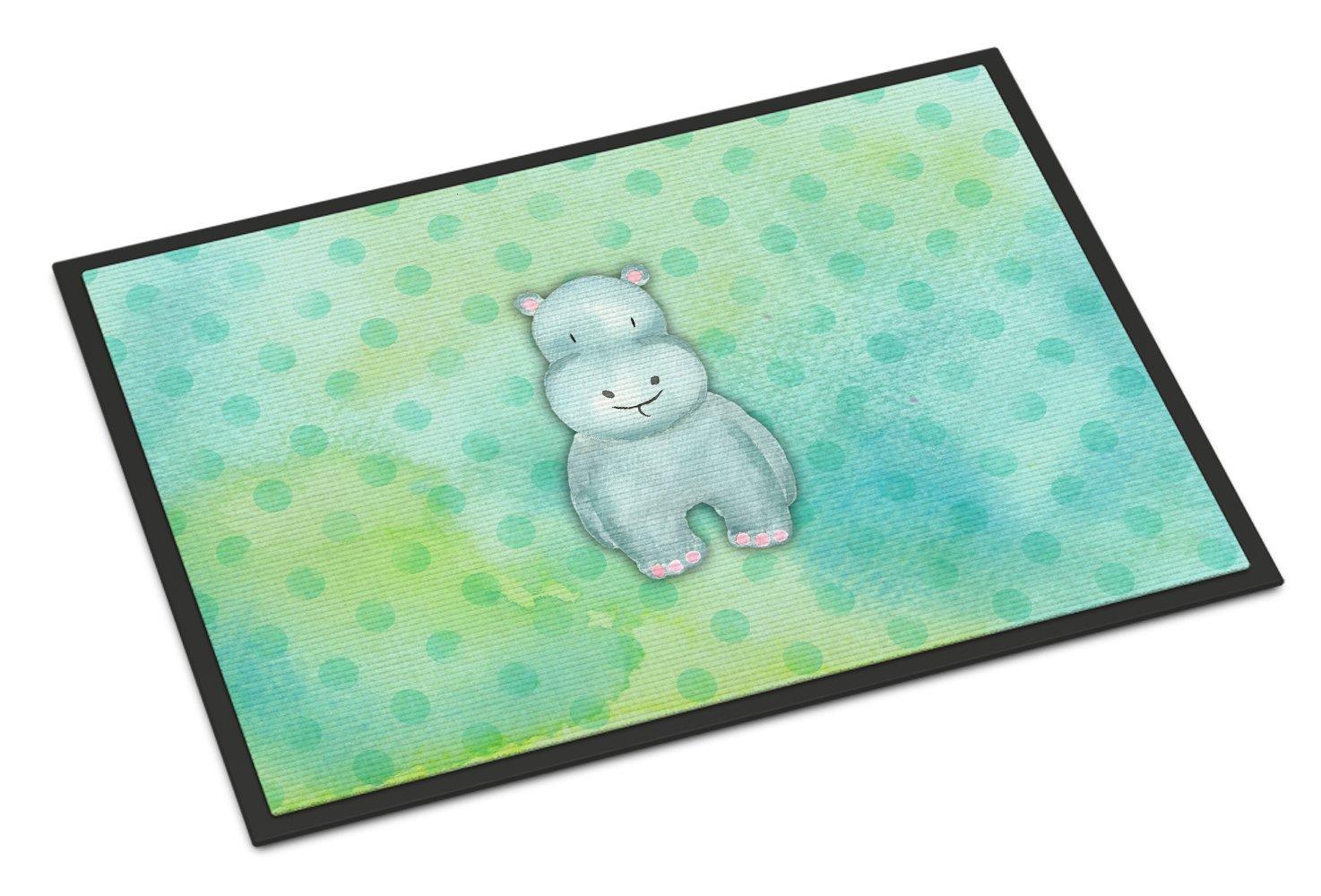 Carolines Treasures Polkadot Hippopotamus Watercolor Doormat 24 H x 36 W Multicolor
