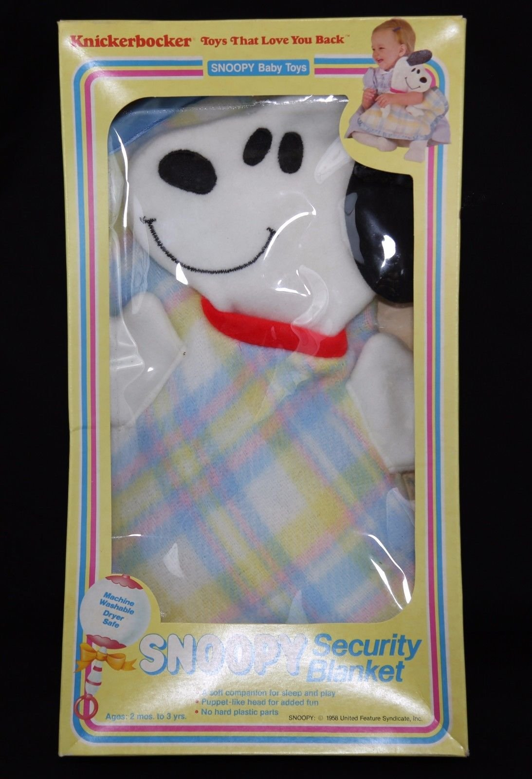 Vintage 1970's Peanuts Baby Snoopy Security Lovey Blanket