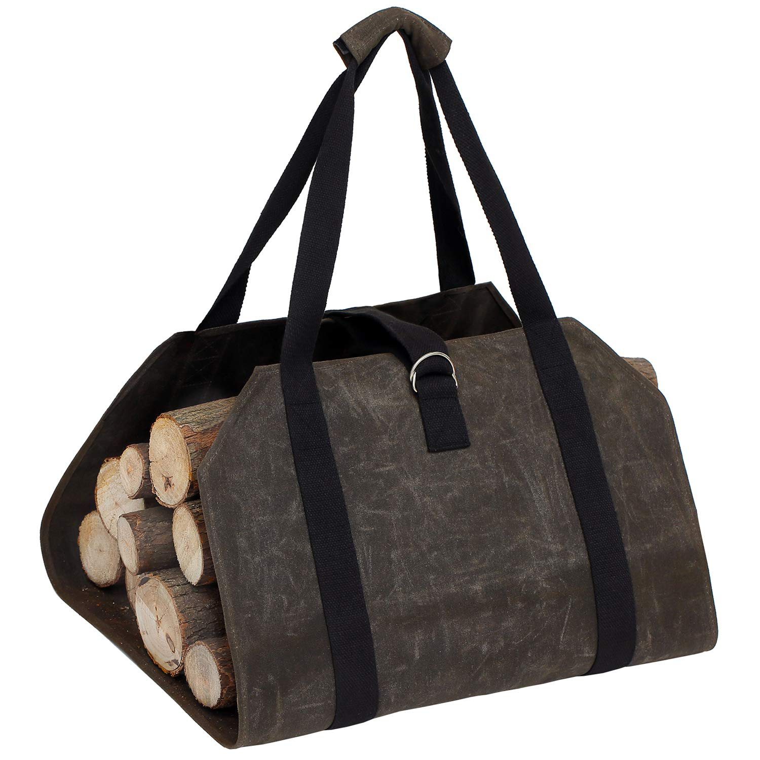 OWNFUN Waxed Canvas Firewood Log Carrier Wood Carrying Bag for Holders Fireplace
