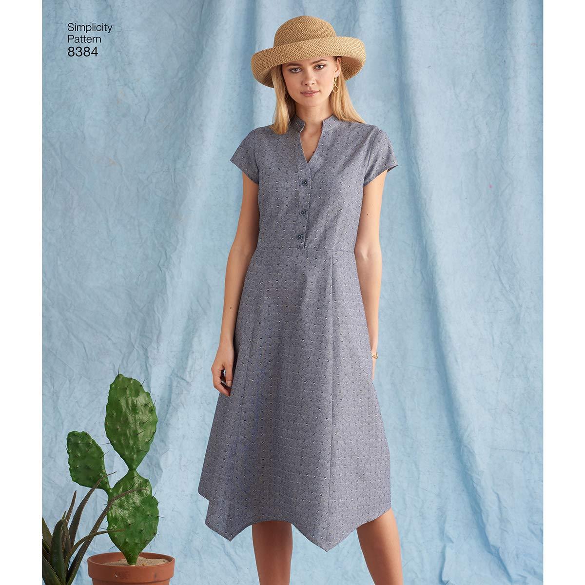 wei/ß 22/x 15/x 1/cm Simplicity Muster 8384/Damen Kleid mit L/änge Variationen und Top Papier
