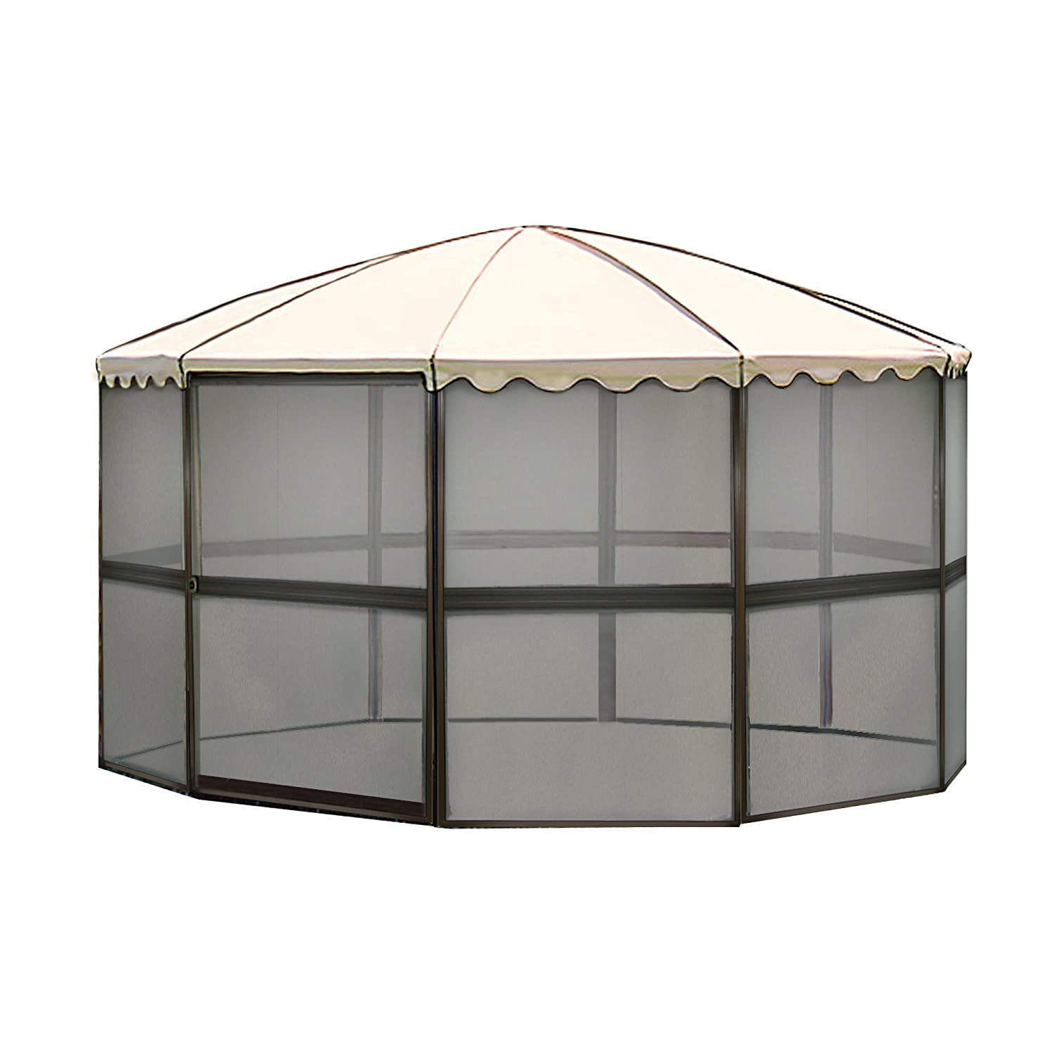 Casita 10-Panel Round Screenhouse 3165 03165 Brown with Almond Roof Canopy