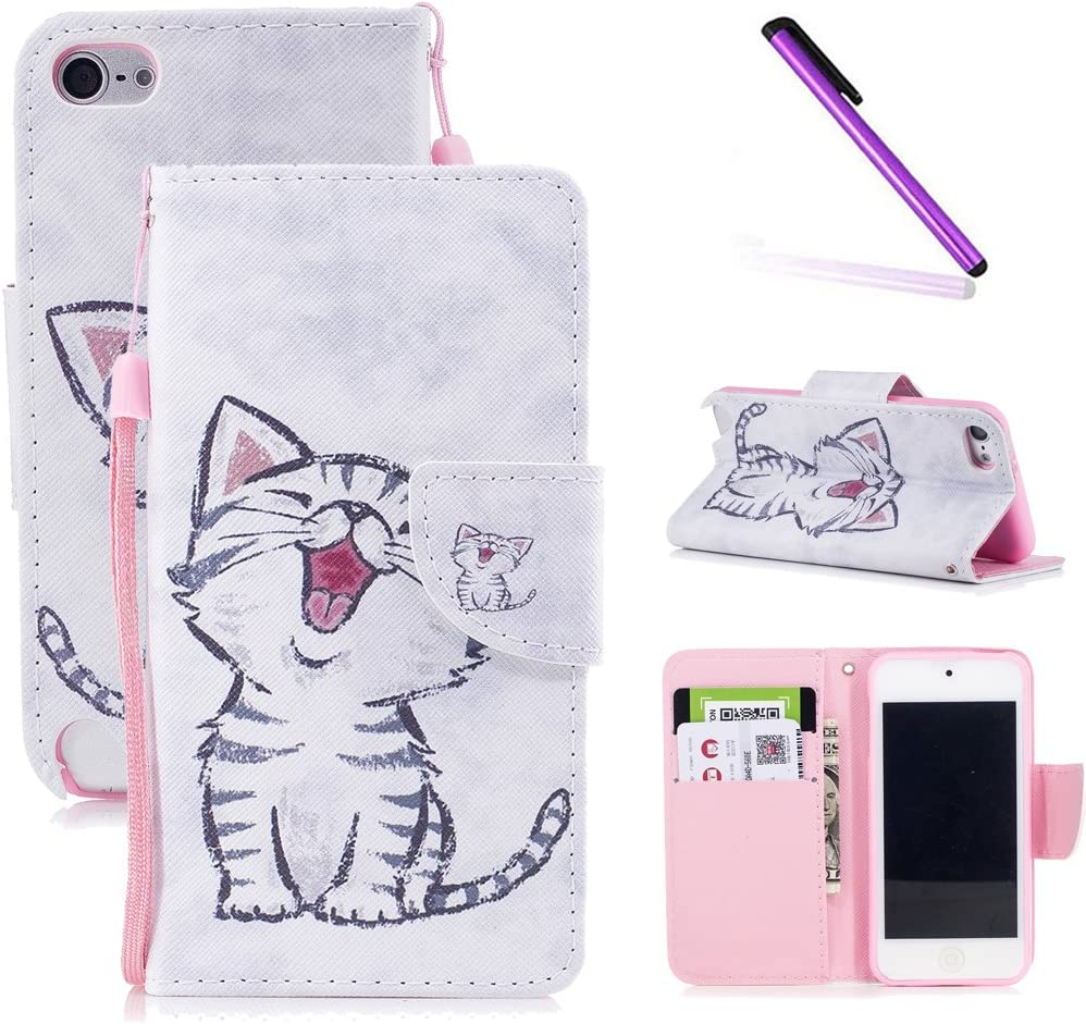 iPod Touch 6th Case,iPod Touch 5th Case,LEECOCO Fancy Print Floral Wallet Case with Card/Cash Slots [Kickstand] PU Leather Folio Flip Protective Case Cover for iPod Touch 6th / 5th Smile Cat