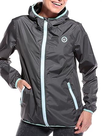 d1076aa5e1fa0a WOLDO Athletic Regenponcho Damen Regenjacke für Schmuddelwedda Jacke -  Mantel atmungsaktiv Winddicht Regenmantel mit Reißverschluss grau