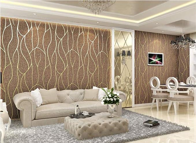 Papel Pintado No Tejido Franja Estereosc/ópica 3D Marr/ón Oscuro Papel De Pared Dormitorios Sal/ón Hotel Fondo De Tv Elegante Moderno Fine Decor Murales