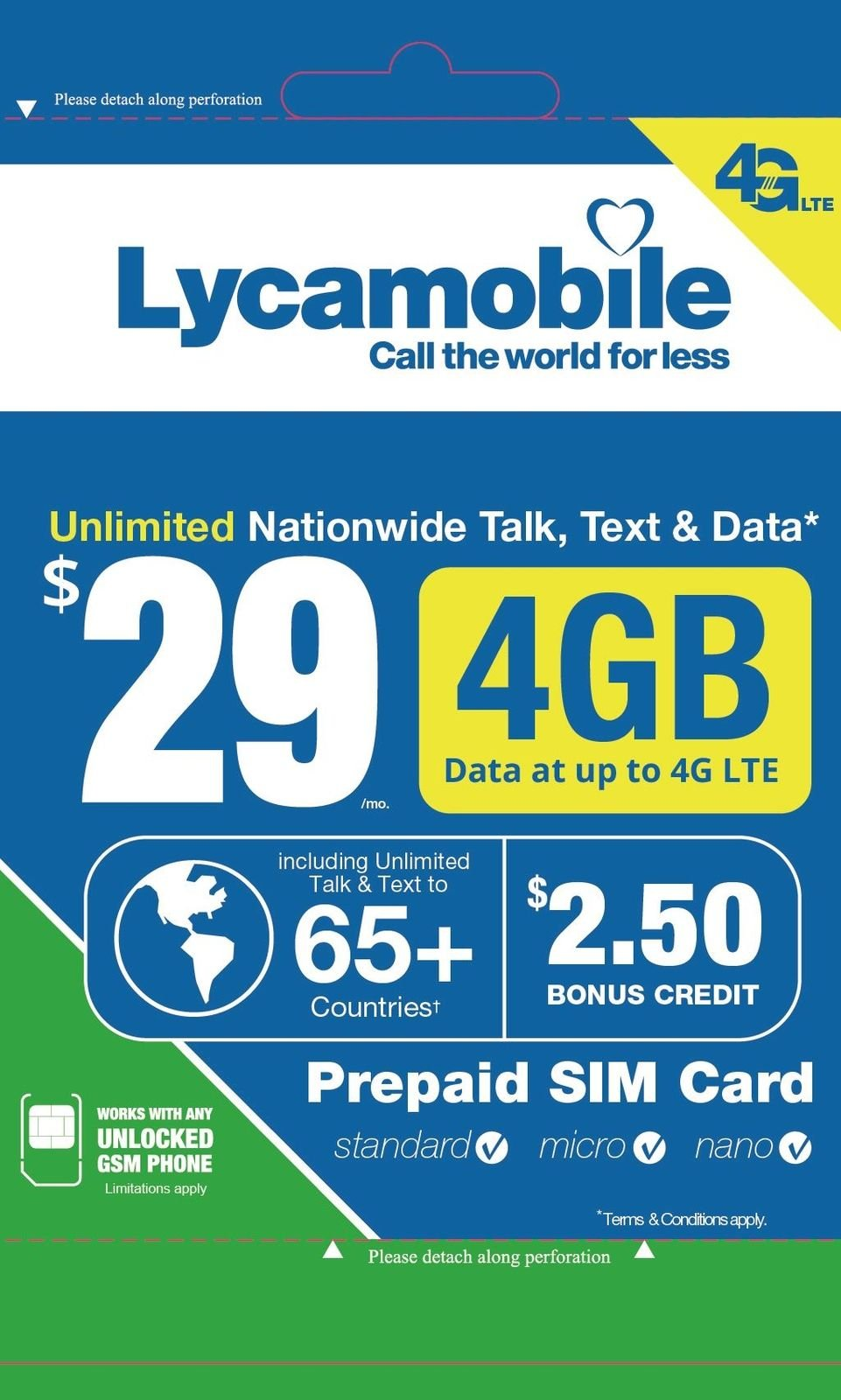 Lycamobile $29 Plan 1st Month Included SIM Card is Triple Cut Unlimited Natl Talk & Text to US and 65+ Countries 4GB Of 4G LTE by Spartan Technologies