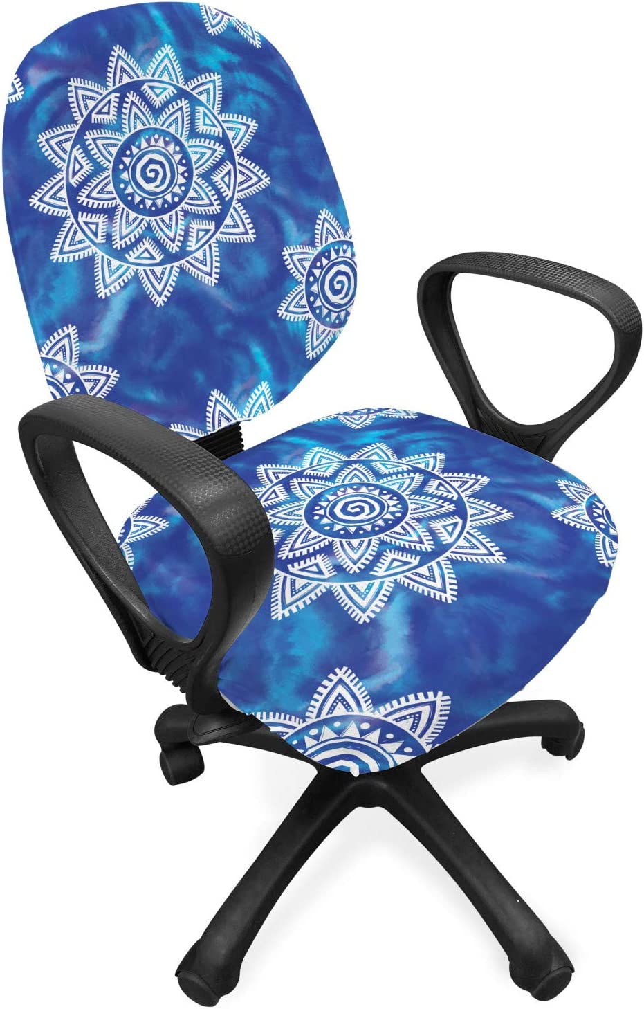 Lunarable Boho Office Chair Slipcover, Oriental Sun and Flower Motif on Watercolor Style Brush Strokes Background, Protective Stretch Decorative Fabric Cover, Standard Size, Purple White