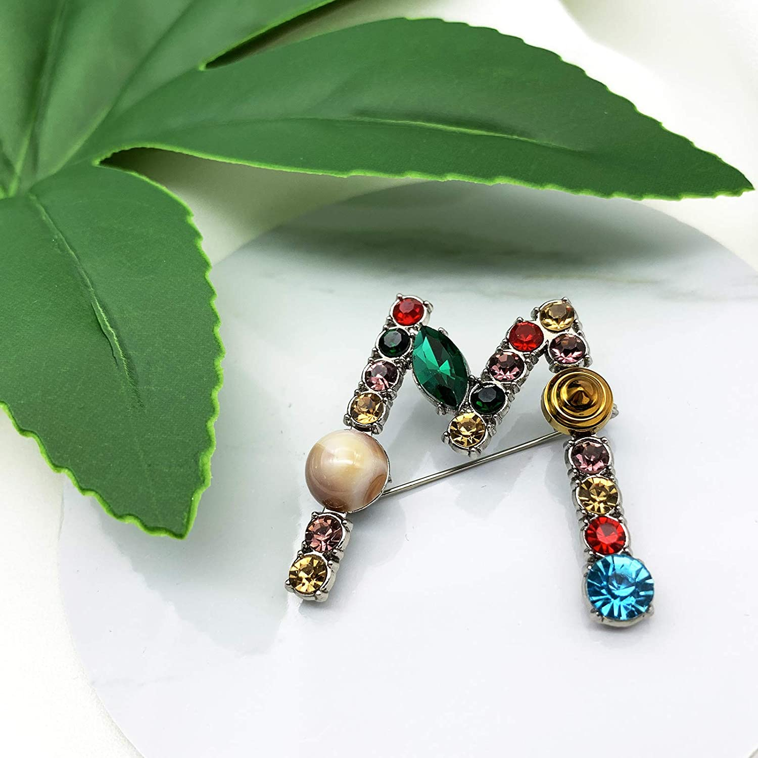 XGALBLA A to Z 26 English Letters Plated Metal Stone Clear Colorful Crystal Lapel Pin Brooches Collar 2 Color