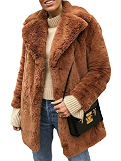 ishine Kunstpelz Damen Fellmantel Faux Fur Jacket Pelzmantel