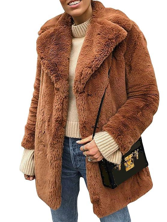 Terryfy Damen Pelz Mantel Elegant Lang Warm Fellmantel Winter Fur Coat Jacke