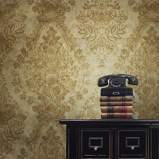 10M Victorian Yellow 3D Damask Wallpaper Walls Vintage Roll