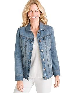 4171e64019a Amazon.com  Chico s Women s Long Jacquard Denim Jacket  Clothing