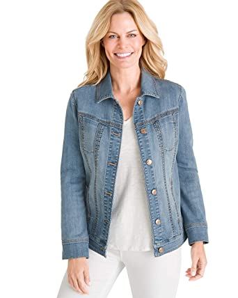 ae497ca269 Chico's Women's Stretch Jean Jacket Denim Blue at Amazon Women's ...