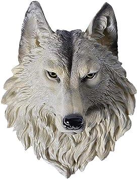 Ertyuk-Decor Cabeza De Animal Decoraci/ón De Pared Escultura De Cabeza De Lobo Busto De Lobo Estatua Colgante De Pared Animal Salvaje Decoraci/ón De Pared Resina Artesan/ía-A