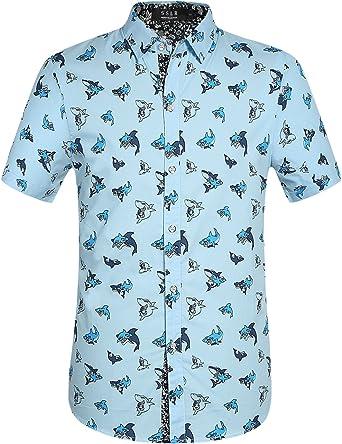 SSLR Camisa con Estampado de Tiburones Manga Corta de Algodón de Verano para Hombre: Amazon.es: Ropa y accesorios