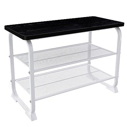 Aspect tres niveles de almacenamiento estante para zapatos/banco con cojín del asiento, Metal, Color blanco