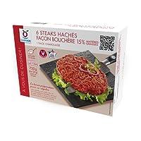 6 steaks hachés surgelés charolais origine France façon bouchère 15% M.G. - 720 g