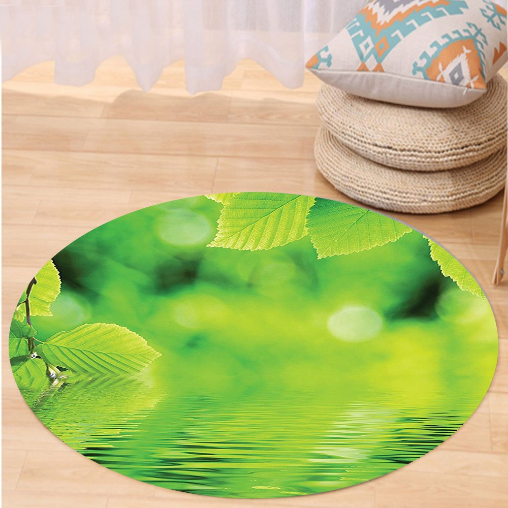 VROSELV Custom carpetLeaves Decor Leaves in the Water Spa Open Your Chakra with Nature Meditation Ecological Monochrome Photo Bedroom Living Room Dorm Decor Green Round 72 inches