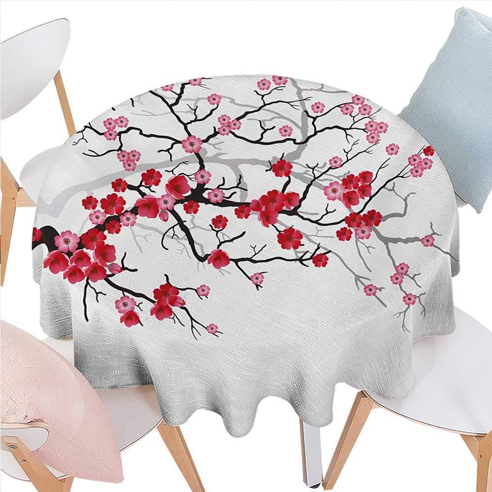 自然 しわ防止 テーブルクロス 春の木のイラスト 枝 花のついた日光 背景 正方形 しわ防止 テーブルクロス 36インチ x 36インチ ピンク フクシア D50