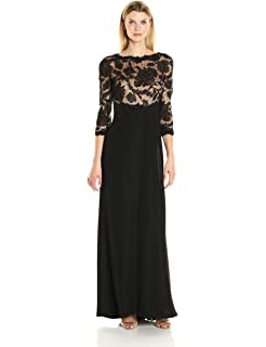 ada3d11d76953 Tadashi Shoji Women's 3/4 Sleeve Embroidered Lace and Sequin Gown at ...