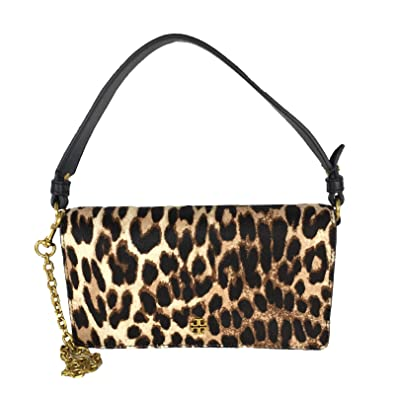 1fad1acaa7 Image Unavailable. Image not available for. Color: Tory Burch Cleo Leopard  Calf Hair Convertible Clutch Crossbody ...