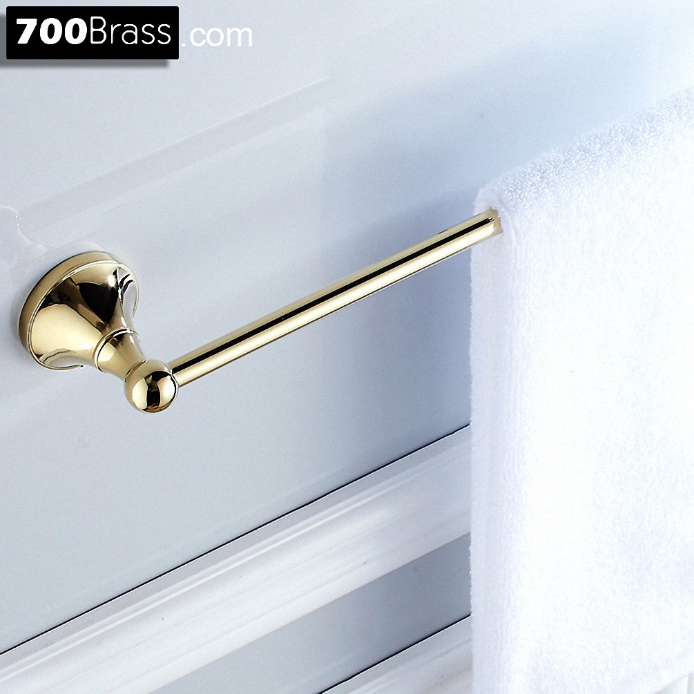 700Brass 24 Inch Towel Bar Design for Hotel/Motel/Home, Solid Brass, Polished Gold, Wall Mounted, Bathroom/Kitchen Hardware
