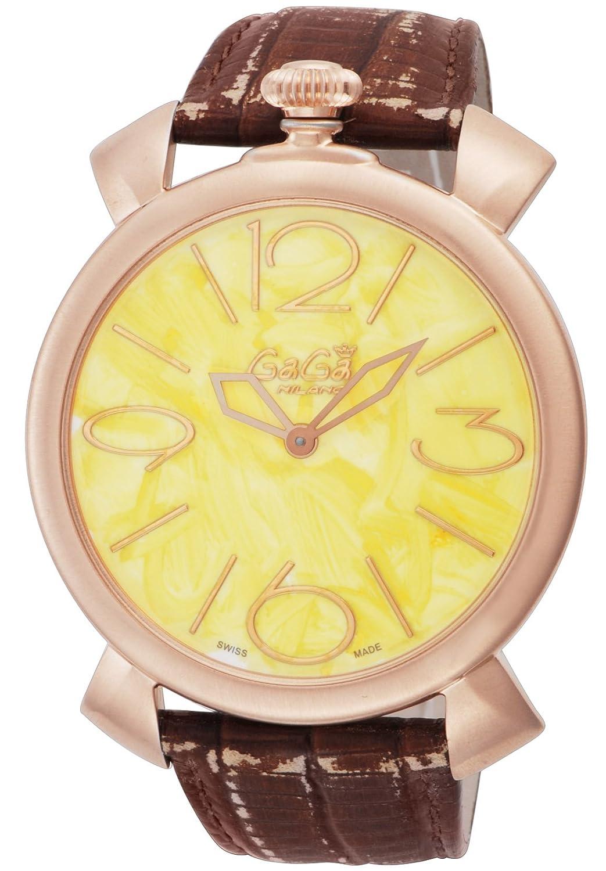 [ガガミラノ]GaGa MILANO 腕時計 MANUALETHIN46mmVINTAGE イエロー文字盤 ステンレス(PGPVD) ケース スイスメイド 5091VINTAGE-YEL-BRW メンズ 【並行輸入品】 B00XY8HMZG