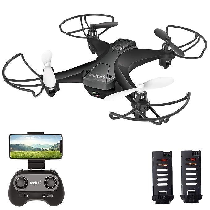 tech rc Mini Drone con Cámara HD con Dos Baterías Función de Suspensión Altitude Un Botón de Despegue / Aterrizaje, Modo sin Cabeza Protecciones de 360 ??° para niños y Principiantes Buen Regalo