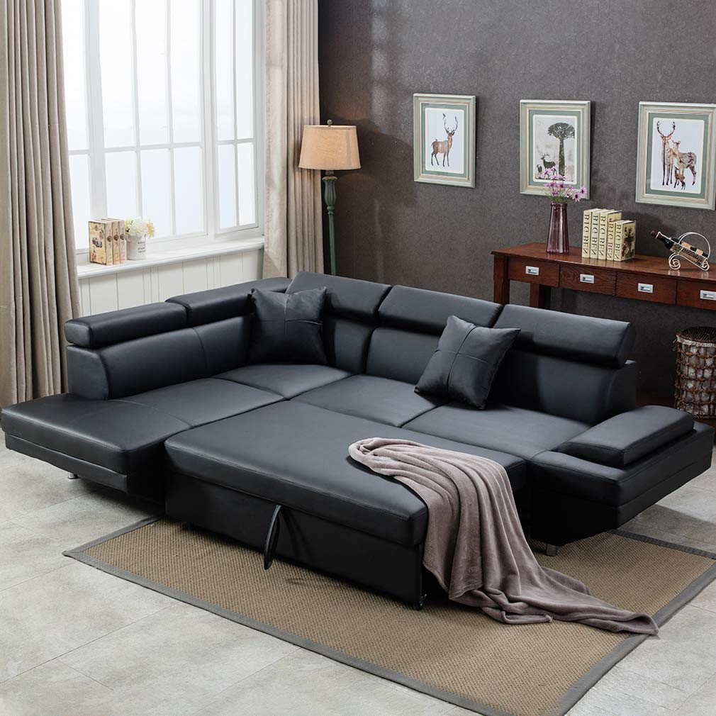 FDW Sofa Bed Living Room Sofas Couches and Sofas Corner Sofa Set Sleeper Sofa Faux Leather Queen 2 Piece Modern Contemporary, Black by FDW