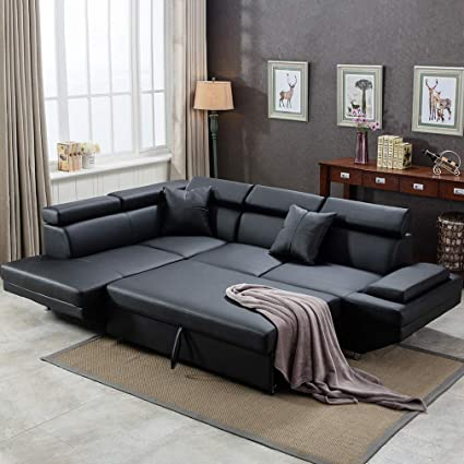 Sofa Sectional Futon Sofa Bed Living Room Sofas Couches and Sofas Corner  Sofa Set Sleeper Sofa Faux Leather Queen 2 Piece Modern Contemporary